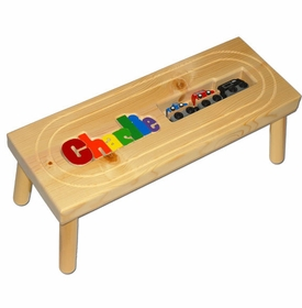 personalized name puzzle stool with train
