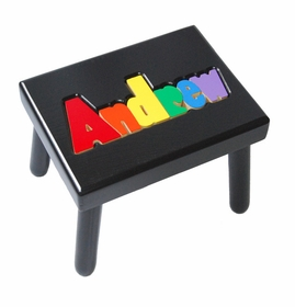 personalized name stool - black with primary colors
