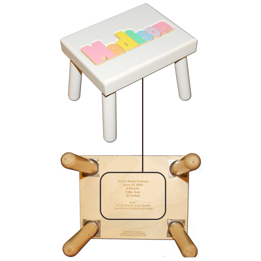 Personalized Name Stool White With Pastel Colors