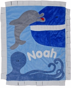 personalized ocean commotion blanket