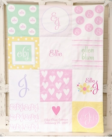 personalized patchwork baby blanket (girl pastel)
