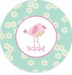 personalized patchwork birdie plate (style 2p)
