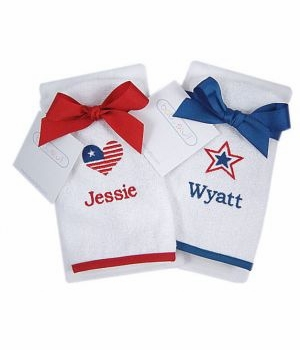 personalized patriotic bib & burp cloth set