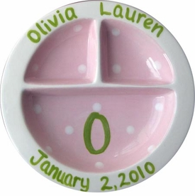 personalized pink and green 3-section plate