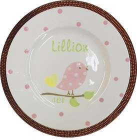 personalized pink bird plate