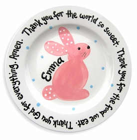 personalized pink bunny plate