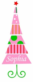 personalized pink christmas tree tee shirt