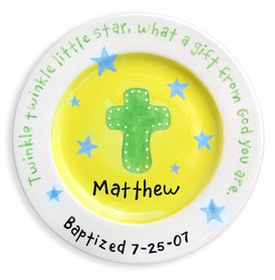 personalized plate - christening boy