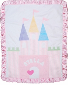 personalized princess castle baby blanket