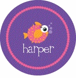 personalized puffer fish plate (style 1p)