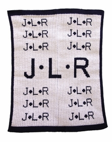 personalized repeating initials stroller blanket