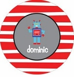 personalized robot boy plate (style 1p)