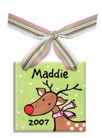 personalized rudolph christmas ornament  girl