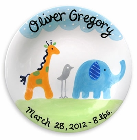 personalized safari friends plate boy