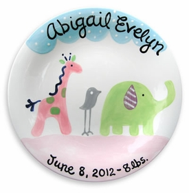personalized safari friends plate girl