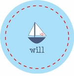 personalized sailboat boy plate (style 2p)