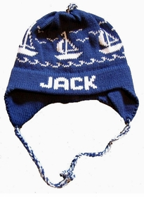 personalized sailboats earflap hat