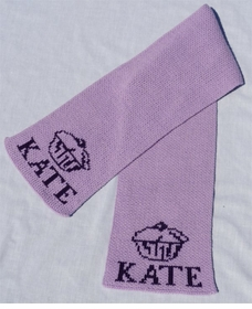 personalized scarf with name and cupcake