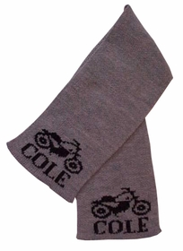 personalized scarf with name and vintage motorcycle
