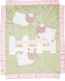 personalized sheep baby blanket - green
