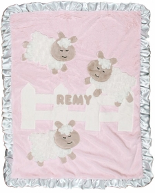 personalized sheep baby blanket - pink