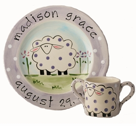 personalized sheep baby plate