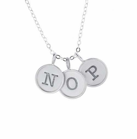 personalized silver rimmed charm necklace