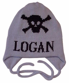 personalized skull crossbones hat with earflaps