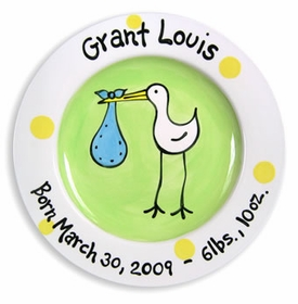 personalized stork baby plate