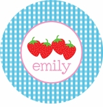 personalized strawberry plate (style 2p)