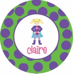 personalized super girl plate (style 2p)