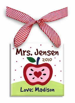 personalized teacher apple christmas ornament