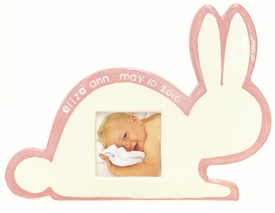 personalized white bunny picture frame