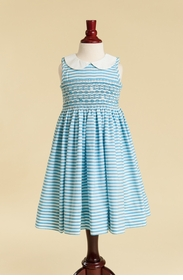 peter pan smocked collared dress in turquoise