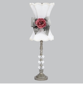 pewter 3 glass ball lamp with white shade, sash and rose magnet