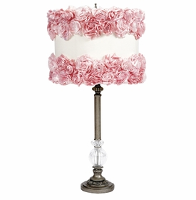 pewter lamp with rose covered shade