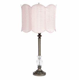 pewter lamp with scalloped pink white striped shade