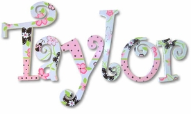 """pink and brown flowers and lady bugs curlz style 8"""" wooden wall letters"""