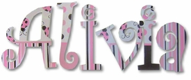 """pink and brown lady bugs 8""""wooden hanging letters"""