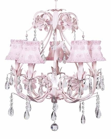 pink ballroom chandelier with petal flower shades