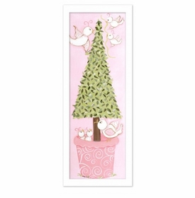 pink bird topiary wall art - white frame