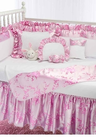 pink blossom crib bedding