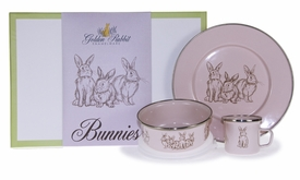 pink bunny dish keepsake set and box (plate, mug, & bowl)