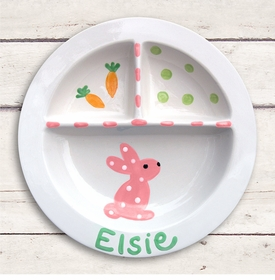 pink bunny sectioned baby plate