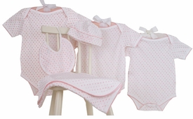 pink dots layette set