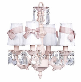 pink fountain chandelier - white shades