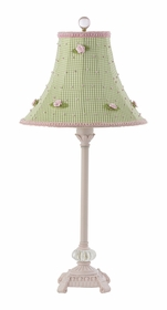 pink glass scroll lamp with green rosebud check shade