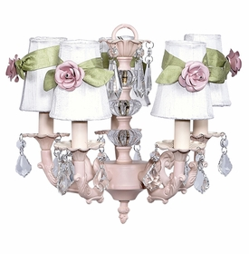 pink stacked glass ball chandelier with white rose shades