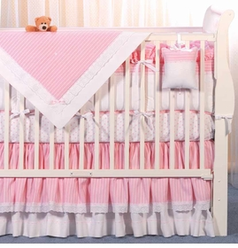pink tuxedo stripe crib bedding by blauen
