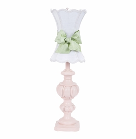 pink urn lamp with white scallop shade & green sash